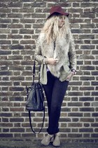 camel faux fur H&M scarf - brown studded Bertie boots - black tesco jeans