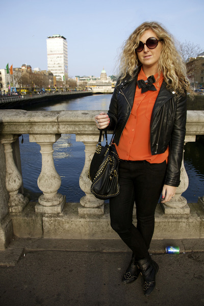 carrot orange vintage blouse - black Primark jeans - black H&M jacket