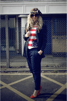 navy vintage blazer - ruby red Primark flats - navy H&M pants - ruby red Primark