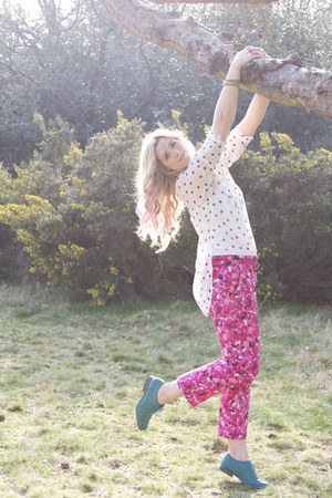 hot pink floral asos pants - teal brogues Primark shoes