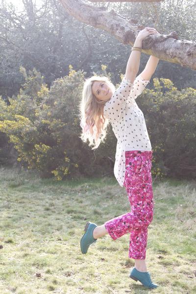 hot pink floral asos pants - teal brogues Primark shoes