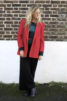 black Primark boots - red vintage blazer