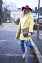 yellow Primark coat - blue boyfriend jeans new look jeans