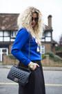 White-topshop-coat-blue-oasap-jumper-black-h-m-skirt-black-primark-heels