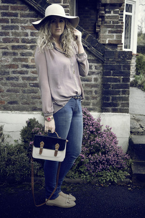 blue Primark jeans - beige TK Maxx hat - navy Primark bag - nude Primark flats -