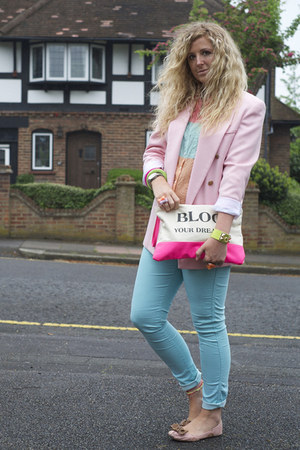 bubble gum vintage blazer - aquamarine F&F jeans - hot pink clutch berksha bag