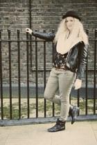 olive green Primark jeans - black Market boots - black H&M jacket - cream H&M sc