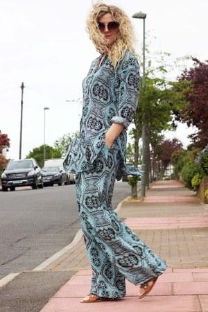 sky blue H&M blouse - sky blue wide leg H&M pants