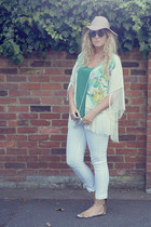 teal kimono H&M cape - white F&F jeans - black OASAP sunglasses
