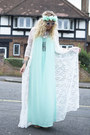 Aquamarine-missguided-dress-white-kimono-missguided-cardigan