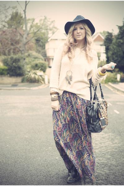 tawny maxi skirt Primark skirt - navy fedora TK Maxx hat