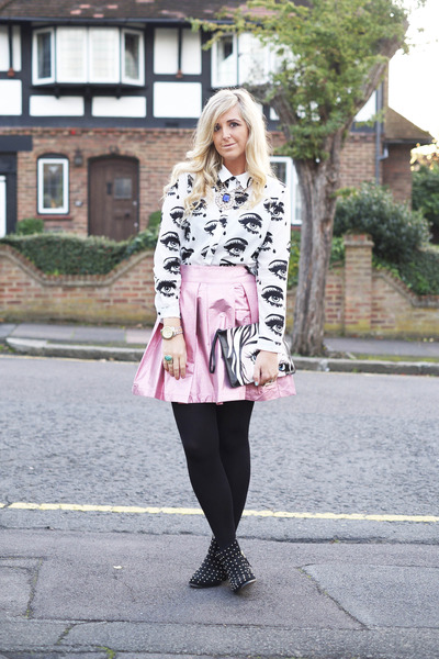 George blouse - studded Topshop boots - metallic skater asos skirt