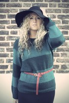 black Primark dress - black H&M hat - green Primark jumper - red Primark belt