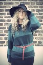 black Primark dress - black H&M hat - green Primark jumper - red Primark belt