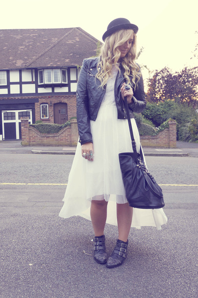 bowler Primark hat - studded Office boots - Topshop dress - biker H&M jacket