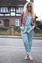 bubble gum leopard print Primark jacket - aquamarine Fashion Union romper