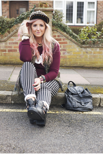 black cutout Topshop boots - black striped new look jeans