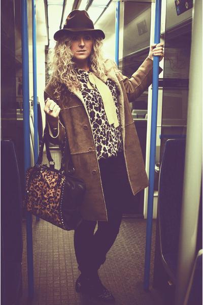 black Market boots - camel next coat - black Topshop jeans - dark brown boutique