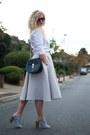 White-oxford-shirt-gant-shirt-teal-drew-bag-chloe-bag-heather-gray-h-m-skirt