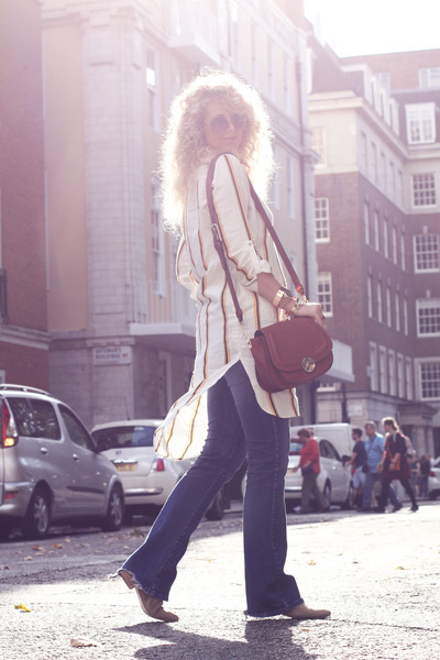 light brown fringe boots Topshop boots - yellow H&M shirt - dark brown dune bag