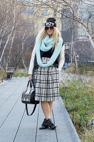 black Office boots - black Urban Outfitters jacket - aquamarine Old Navy scarf