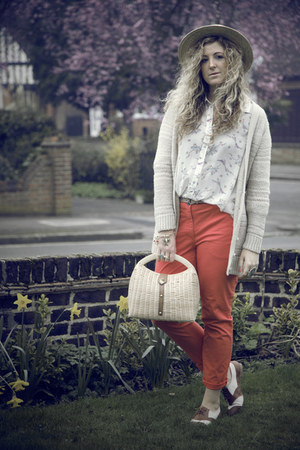 carrot orange H&amp;M pants - off white new look blouse - neutral tesco cardigan