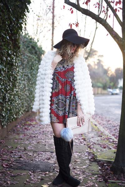ivory fur Boohoo coat - black Peacocks boots - ruby red ILWF dress