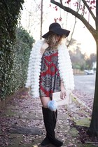 ivory fur Boohoo coat - black Peacocks boots - ruby red ILWF dress