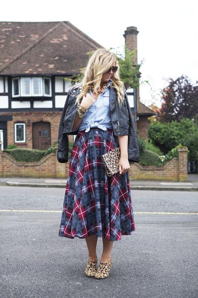 blue tartan vivienne westwood skirt - brown leopard print Topshop boots
