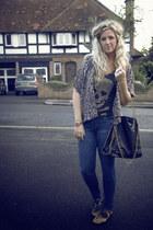 skull H&M top - skinny jeans Primark jeans - Market bag