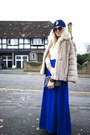 Blue-maxi-dress-chi-chi-dress-tan-faux-fur-vintage-coat