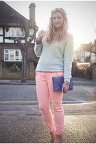coral asos jeans - light blue asos sweater - purple vintage bag