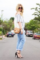 light blue Zara top - light blue H&M jeans - black Deichmann heels