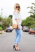 light blue Zara top - light blue H&M jeans - black Deichmann heels