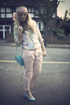 sky blue Primark bag - pink Topshop pants - sky blue Marks and Spencers flats -