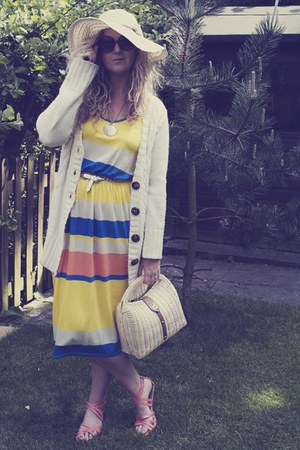ivory Primark cardigan - yellow Primark dress - beige Primark bag