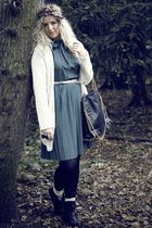 black Market boots - blue vintage dress - beige Primark socks - black Market