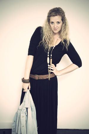 black Primark dress - blue H&M jacket - gold River Island necklace - brown H&M b