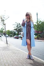 sky blue Boohoo blazer - brick red shirt dress Primark dress