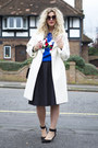 White-topshop-coat-blue-oasap-jumper-black-h-m-skirt-black-primark-heels