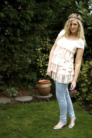 pink Newlook dress - blue H&M jeans - silver Primark shoes