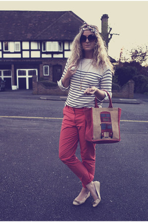 red H&M pants - navy stripes Primark jumper - neutral Primark flats