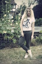 green Primark pants - white Primark shoes - white new look t-shirt - black H&M a