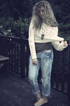 white Miss Selfridge - blue H&M jeans - yellow Peacocks shoes - green Zara t-shi