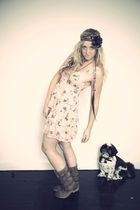 pink new look dress - brown asos boots - brown Topshop accessories - gold Miss S