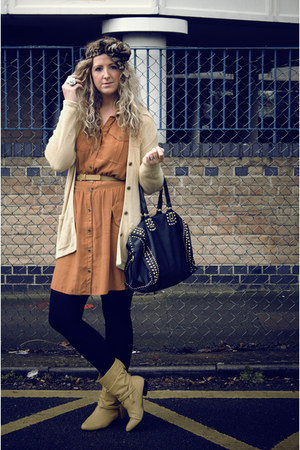 black collette bag - mustard Market boots - burnt orange Primark dress