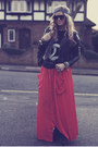 Black-biker-h-m-jacket-carrot-orange-maxi-verycouk-skirt