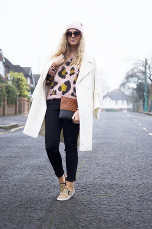 white Topshop coat - black Great plains jeans - bubble gum Topshop sweater