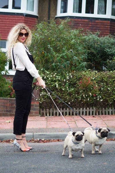 camel Boohoo coat - black dungarees asos romper - white next blouse