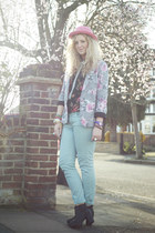 bubble gum floral Primark blazer - black so you shoes boots